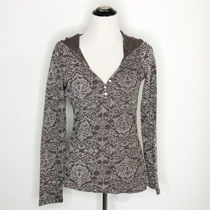Lucy Damask Waffle Knit Hooded Henley Thermal